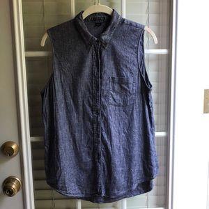 Theory linen sleeveless button up/blouse